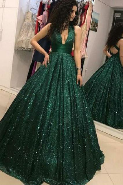 Sparkly Sequined Ball Gown Prom Dresses,Emerald Green Prom Gowns,Deep V-neck Prom Dresses,Floor Length Party Dresses