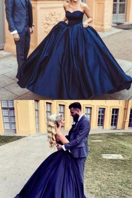 Navy Prom Dresses Ball Gown,Strapless Prom Dresses,Backless Lace-up Prom Dress,Simple Wedding Dresses
