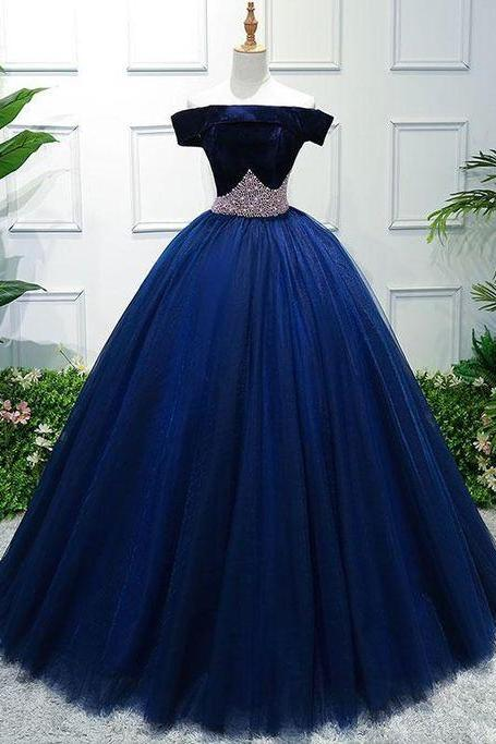 Off The Shoulder Prom Gowns, Navy Blue Prom Dresses,Crystal Sash Prom Dresses,Open Back Ball Gowns Graduation