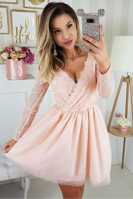 Long Sleeve Short Prom Dresses,V-neck Homecoming Dresses Cheap,Light Pink Homecoming Dresses Plus Size