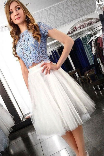 Two Piece Homecoming Dresses,Lace Top Homecoming Dresses,Short Homecoming Dress, Short Sleeve Homecoming Dress