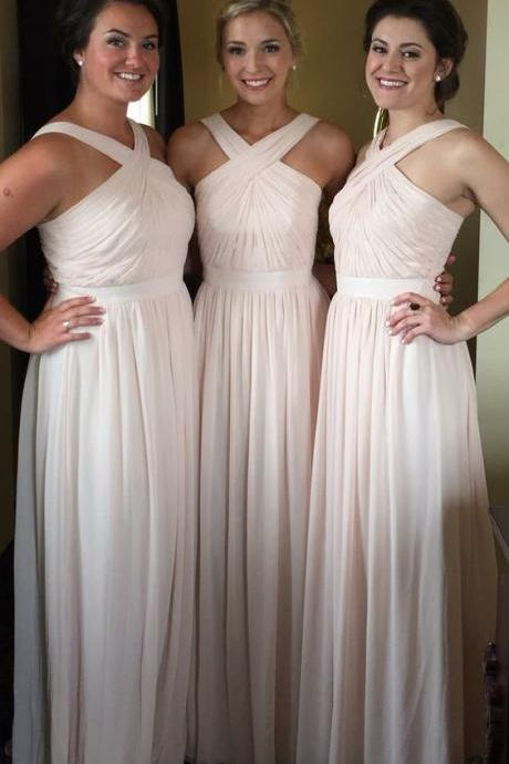 Chiffon Bridesmaid Dresses,Halter Top Bridesmaids Dresses,Long Backless Bridesmaid Dress