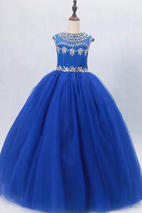 Royal Blue Pageant Dresses For Girls,Crystal Pageant Dress Girls,Toddler Pageant Dress,Ball Gowns Flower Girl Dresses