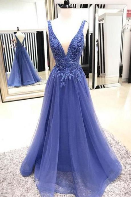 Deep V-neck Formal Dresses,Lace Tulle Beaded Prom Dresses,Open Back Prom Dress,A-line Prom Dresses