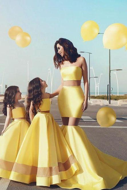 Yellow Flower Girl Dresses,Mermaid Special Occasion Dresses For Girls,Satin Strapless Party Dresses Toddlers