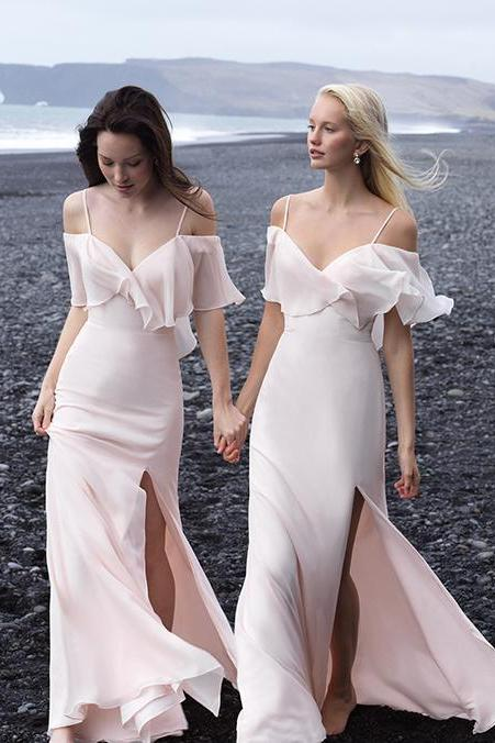 Light Pink Bridesmaid Dresses ,Off Shoulder Bridesmaids Dresses,Chiffon Wedding Guest Dresses ,Long Maid Of Honor Gowns,Party Dress ,Formal Dresses