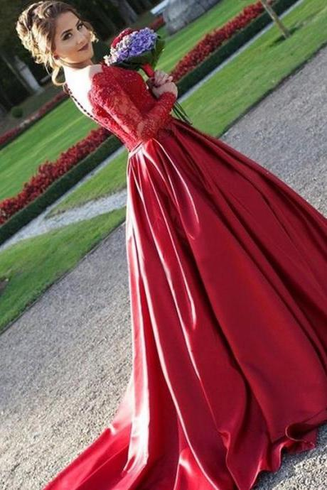 Red Sweetheart Wedding Dresses Beading Sequins Illusion Lace Long Sleeve Open Back Elegant Formal Dress