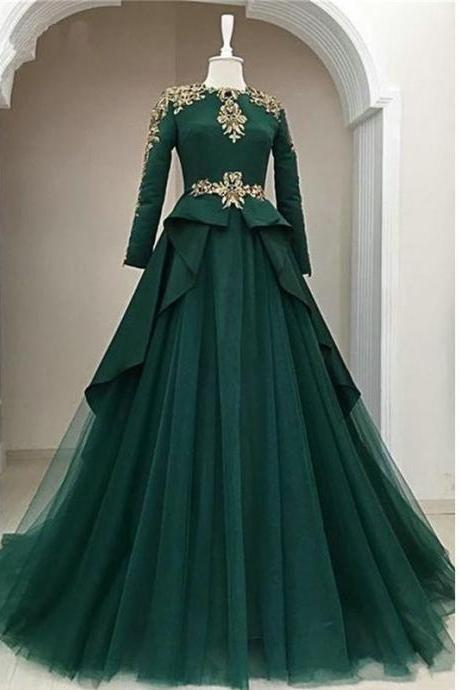 Dark Green High Neck Prom Dresses With Beading Crystal Neck Crystal Beaded Sash Long Sleeve Empire Evening Gowns Peplum Pleats Long Party Dress Formal Gowns