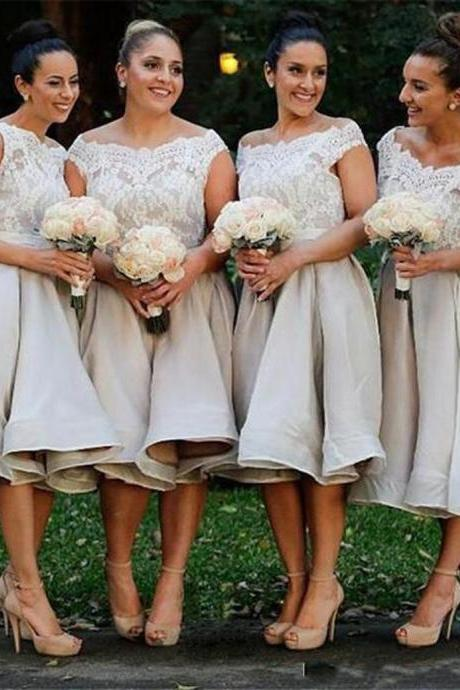 Boat Neck Tea Length Bridesmaids Dresses 2019 Lace Satin Cap Sleeve Draped Plus Size Wedding Guest Dress Maid Of Honor Gowns