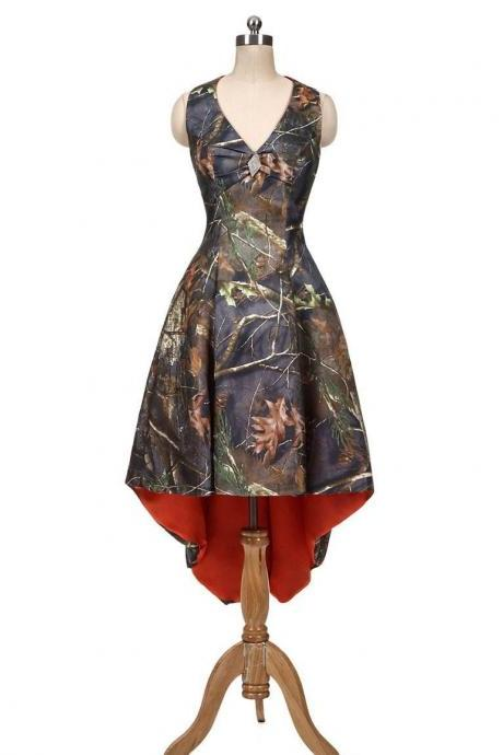 Camo Dresses, Short Bridesmaids Dresses, Camo Bridesmaid Dresses ,Party Dresses Long ,V-neck Prom Dresses ,Evening Formal Dress