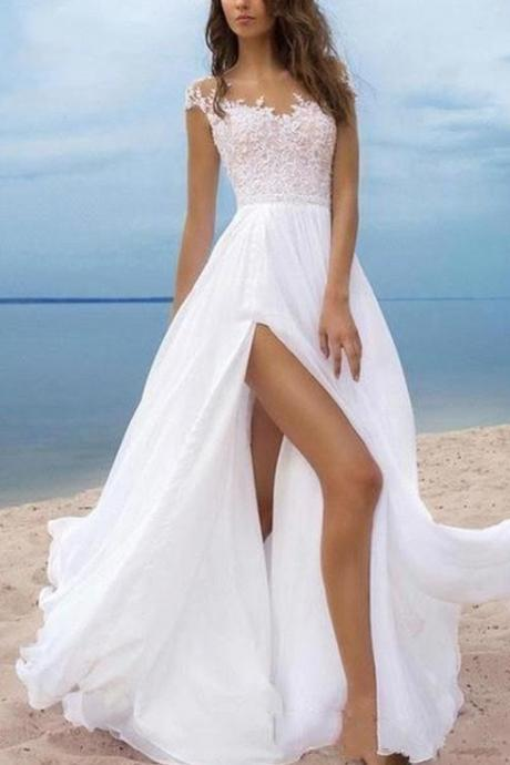 Simple Side Split Beach Wedding Dresses With Sleeves Sheer Neckline Draped Chiffon Bridal Dress Wedding Gowns Country