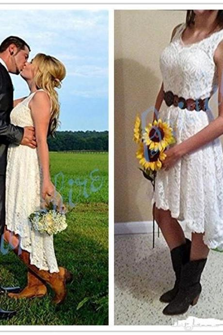 Lace Hi Lo Country Wedding Dresses Cheap 2019 V-neck Cap Sleeve Boho Wedding Dress Bridal Gowns
