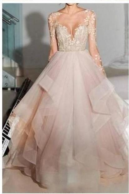 Dreaming Lace Wedding Dresses With Long Sleeves Bateau See Though Back Ruffles Wedding Reception Dress Bridal Gowns
