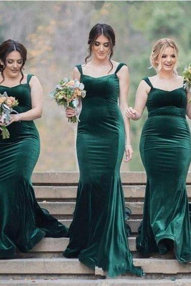 Dark Green Velvet Bridesmaid Dresses Long Mermaid Spaghetti Backless Wedding Guest Dress Maid Of Honor Gowns Evening Dress