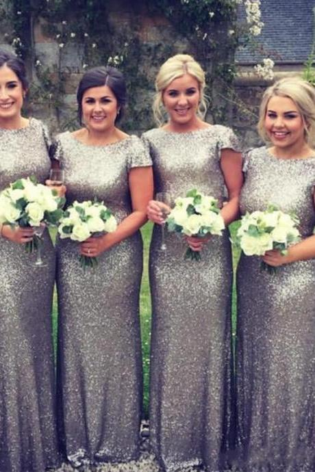 Unique Sequin Silver Bridesmaids Dresses Bateau Short Sleeve Wedding Guest Dress Prom Party Formal Plus Size Dress