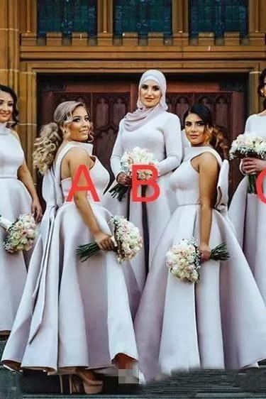 Unique Neckline Grey Bridesmaid Dresses Big Bow Draped Ball Gown Wedding Guest Dress Prom Evening Gowns