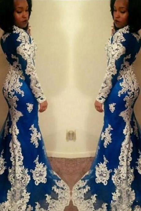 Royal Blue And White Lace Long Sleeve Formal Prom Dresses Mermaid Jewel Evening Gowns Special Occasion Dress