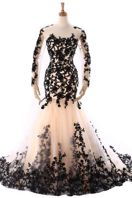 Long Sleeve Lace Formal Dresses Evening Gowns Mermaid Black Lace Prom Dress 7th Grade Party Dress Women