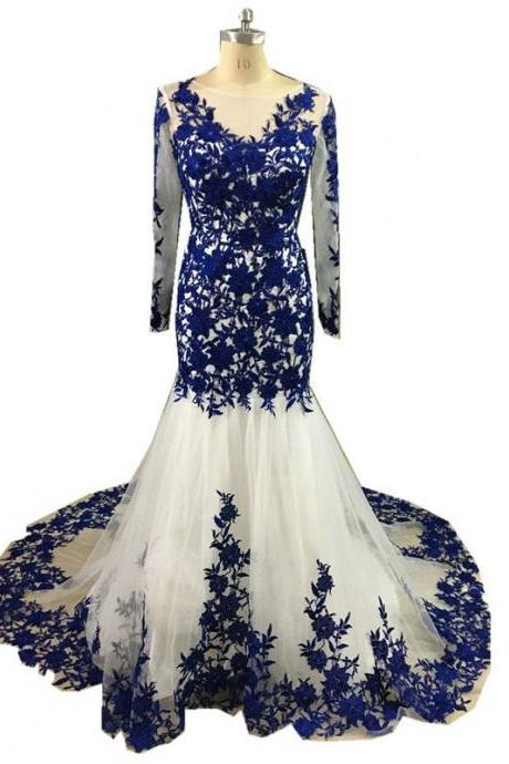 Royal Blue Lace Long Sleeve Evening Dresses Formal Women Modern Mermaid Bateau Party Special Occasion Dress Women