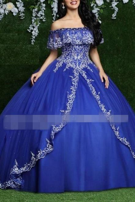 Royal Blue Embroidery Quinceanera Dresses Boho Off The Shoulder Short Sleeve Beaded Layers Princess Sweet 16 Dress Ball Gowns Prom