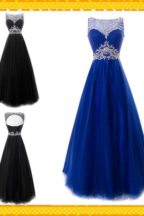 Royal blue A line Tulle Sheer Neck Prom Dresses 2018 Evening Dresses Formal Pageant Gowns Dress