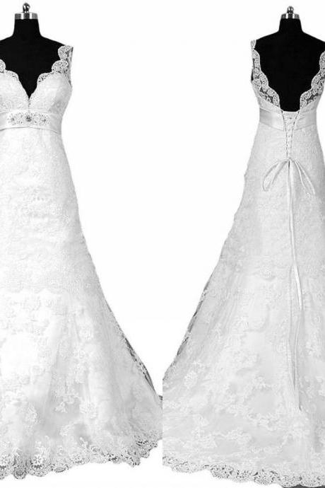 Sexy Deep V neck Lace A line Wedding Dresses 2017 Backless Bridal Dress Gown Ribbon Beaded Wedding Gowns Cheap Long