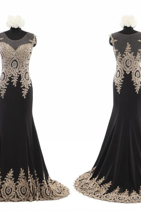Sexy Black Chiffon with Gold Lace Prom dresses 2018 Short Sleeves Mermaid Evening Dresses Long Cheap Modern Fashion Formal Pageant Dress Gown