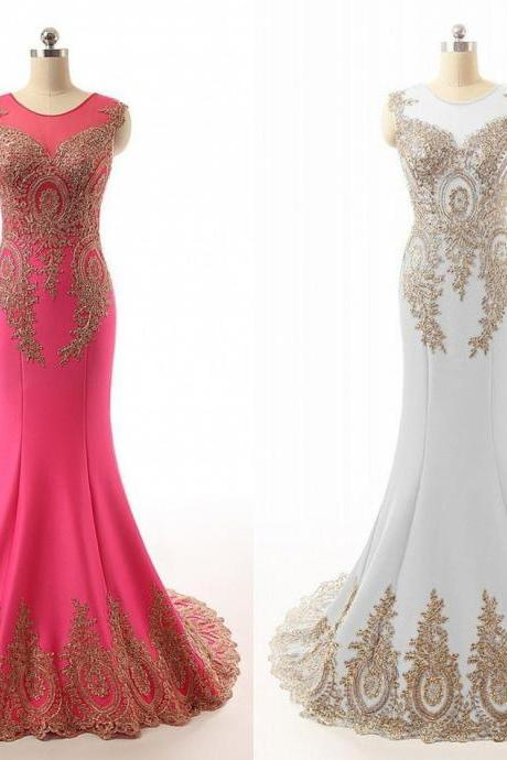 Fashion White Prom Dresses 2018 Gold Lace Mermaid Formal Gowns For Wedding Party Gowns Crystals Rhinestone Pageant Dresses Cheap