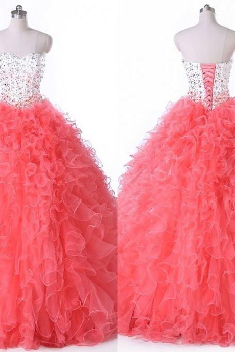 Fashion 2018 Coral Graduation Dresses Sweetheart Tulle Ruffles For Sweet 16 Girls Quinceanera Dress Long Cheap Ball Gown Prom dresses