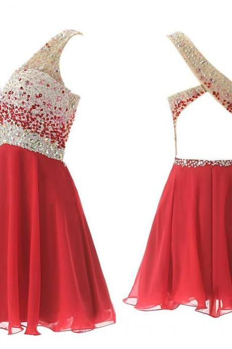 Cute Red One shoulder Backless Homecoming Dresses 2017 with Crystals Short Mini Prom party Dress gown Custom Actual Image Cheap