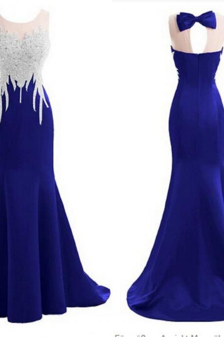 2017 Royal Blue Crop Neck Prom Dresses Mermaid With Sequin Beaded Satin Fabric Long Cheap Evening Formal Pageant Dress Gowns New
