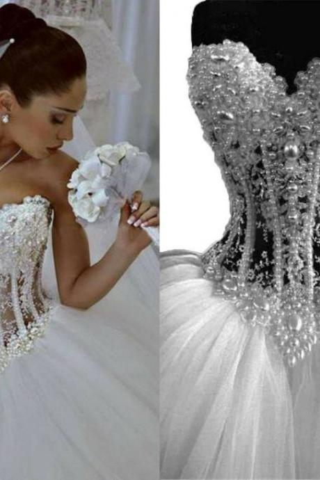 Vintage Wedding Dresses 2018 Sweetheart See Through Pearls Lace Tulle Ball Gown Wedding Bridal Dress Gowns Real Image Cheap