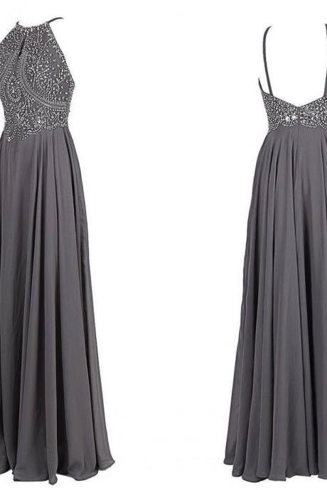 Grey Floor-length Halter Neck Prom Dress with Beaded Bodice