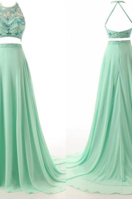 Charming Light Green Two Pieces Prom Dresses Backless Chiffon mermaid Long Crystals Beaded Evening Pageant Formal Dress Gown Cheap