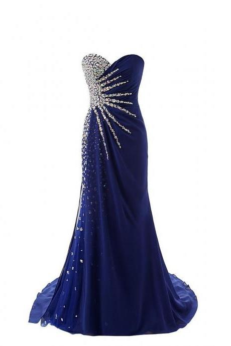 Gorgeous Royal Blue 2017 Sweetheart Prom Dresses Chiffon Real Image Backless Luxury Crystals Rhinestone Evening Formal pageant Dress Gowns Custom