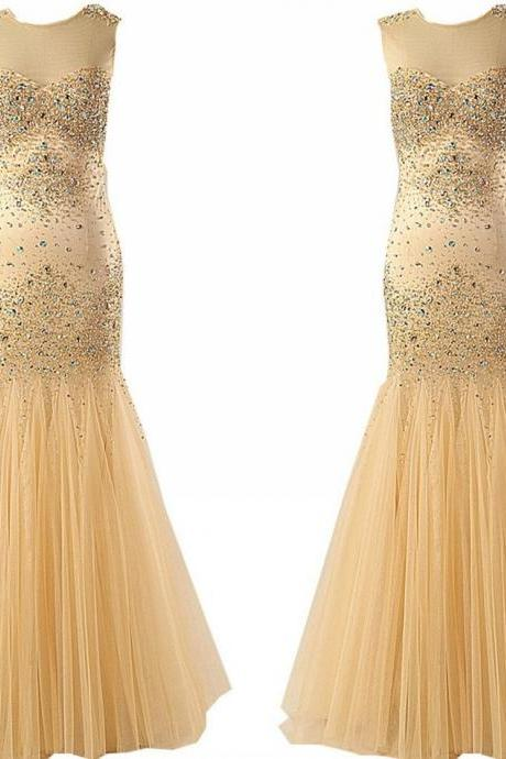 New Arrival Real Image Champagne Mermaid Tulle Prom Dresses with Rhinestones Crystal Sequin Ruched Long Evening Dress Formal Pageant Gown Custom Gowns