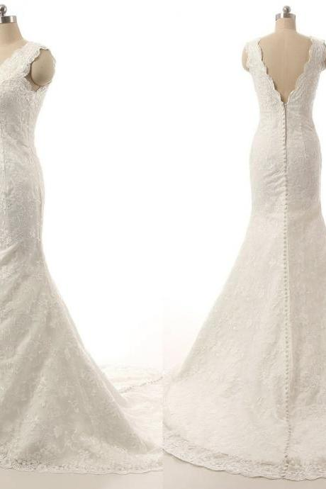 Simple Lace Wedding Bridal Dresses 2017 Sheer Straps Mermaid V neck Back Long Cheap Wedding Gowns Bridal Dress Gown Custom