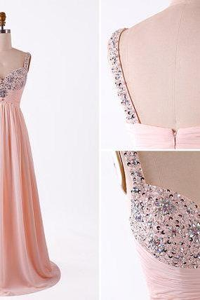 Fashion Blush Pink Empire Summer Prom Dresses 2018 Cheap Long Chiffon Crystals Beaded Pleated Evening Dress Formal Gowns Prom Dress Custom Floor length Backless