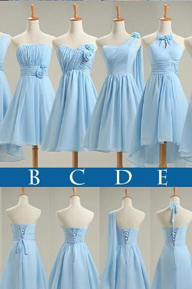 Light Sky Blue Bridesmaid Dresses New Short 2017 Pleated Chiffon Beach Summer Style Wedding Party Dresses Gowns
