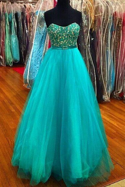 Gorgeous Crystal Bodice Prom Dresses Teal 2017 Empire Pleated Tulle Long Evening Dresses Formal Dress Modern Designer Party pageant Dress Gowns
