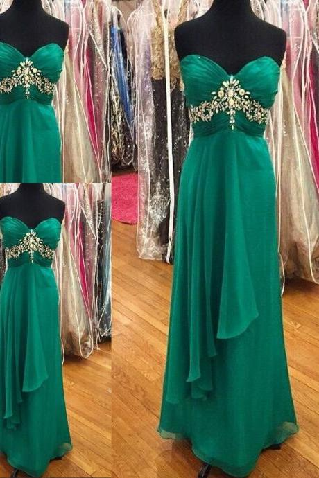 Simple Green New Style Crystals Beaded Sweetheart Formal Dresses Long Open Back Prom Dresses Cheap Evening Dresses 2017 For Women Girls Homecoming Dresses Party Gowns