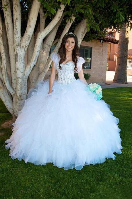 2017 White Romantic Ball Gowns Prom Dresses Quinceanear Dresses Organza Crystal Sequin Beaded Bodice Long Evening Dresses with Jacket Ruffles Party Dresses
