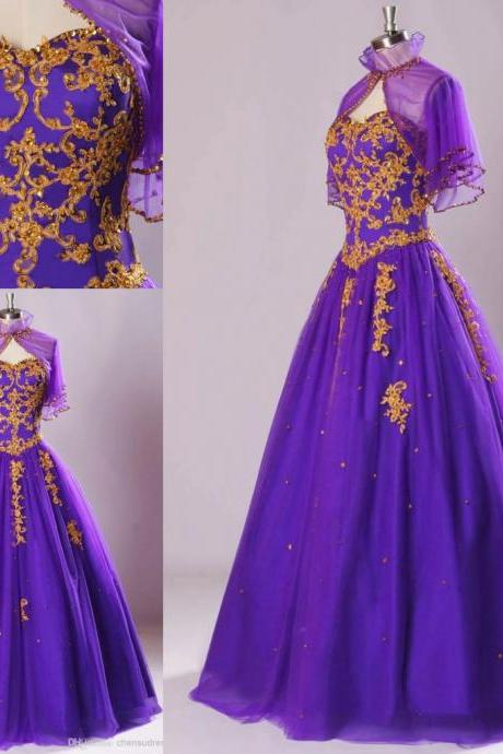 Amazing Purple A line Formal Dresses with Jacket Embroidery Sequin Gold Crystal Tulle Prom Dresses ,Party Dresses , Evening Gowns ,
