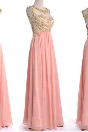 Fashion Gold Lace Peach Chiffon Prom Dresses Bateau Sheer Neck Beaded Long Hollow Back Evening Dresses Formal Gowns Custom Cheap