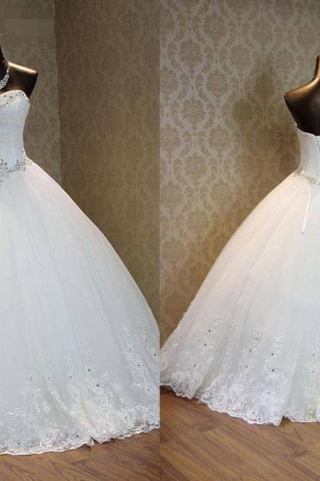 Romantic Lace Wedding Dresses 2017 Flowers Rhinestones Tulle Sweetheart Lace up Back Pleated Long Bridal Dresses Wedding Gowns Custom Real Image Photo Designer Wedding Dress