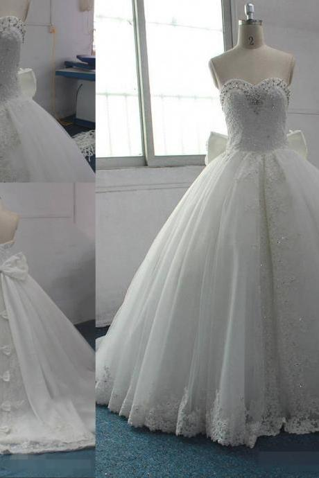 Lovely Bows Designer Custom Lace Ball Gown Wedding Dresses Lace Applique Sequin Beaded Court Train Wedding Dress Bridal Gowns Elegant