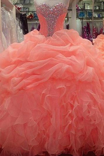 Prom Dresses Coral , Long , Sweetheart , Ball Gowns Prom dresses , Sweet 15 Party Dresses , Quinceanera Dresses 2017 , Cheap Prom dresses , New Style