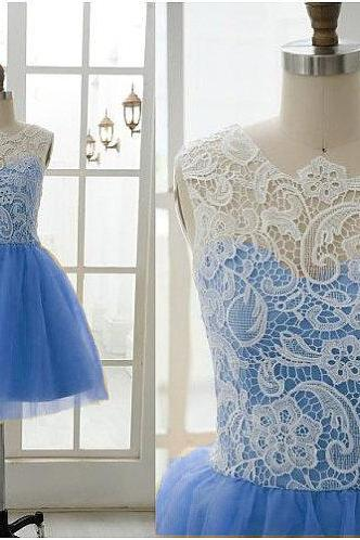 Short Bridesmaid Dresses , Lace Bridesmaid Dress , Blue Bridesmaid Dress , Bridesmaid Dress Cheap , Bateau Bridesmaid Dress , A line Bridesmaid Dress , Organza , Prom Dress Short , Evening Dress