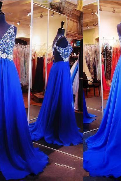 Royal Blue Prom Dresses Backless One Shoulder Designer Beaded Crystal Prom Dress Formal Dress Evening Gowns Long Cheap 2018 Piping Court Train