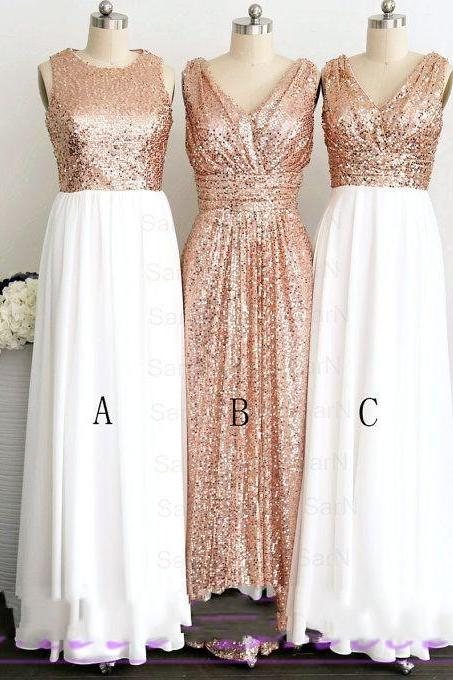 Gold Sequined Bridesmaid Dresses Long 2018 V-Neck Jewel Collar Shinning Pleats Cheap Floor-Length New Formal Prom Gowns Evening Wear Dress Wedding